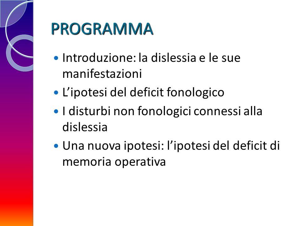 PROGRAMMA Introduzione: la dislessia e le sue manifestazioni Lipotesi del deficit fonologico I disturbi non fonologici connessi alla dislessia Una nuo