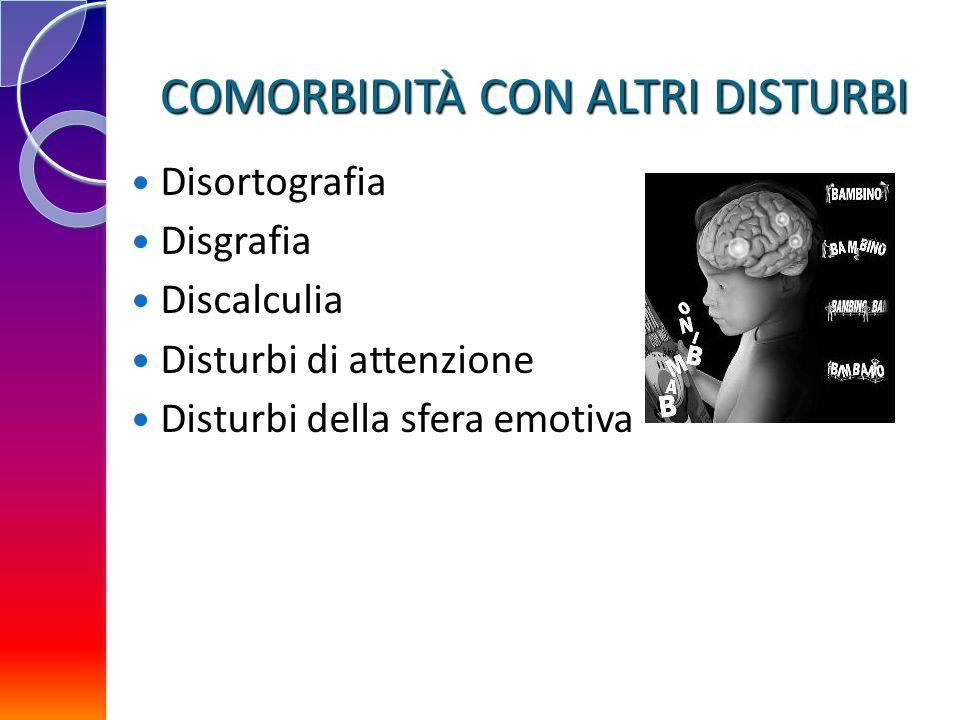 COMORBIDITÀ CON ALTRI DISTURBI Disortografia Disgrafia Discalculia Disturbi di attenzione Disturbi della sfera emotiva