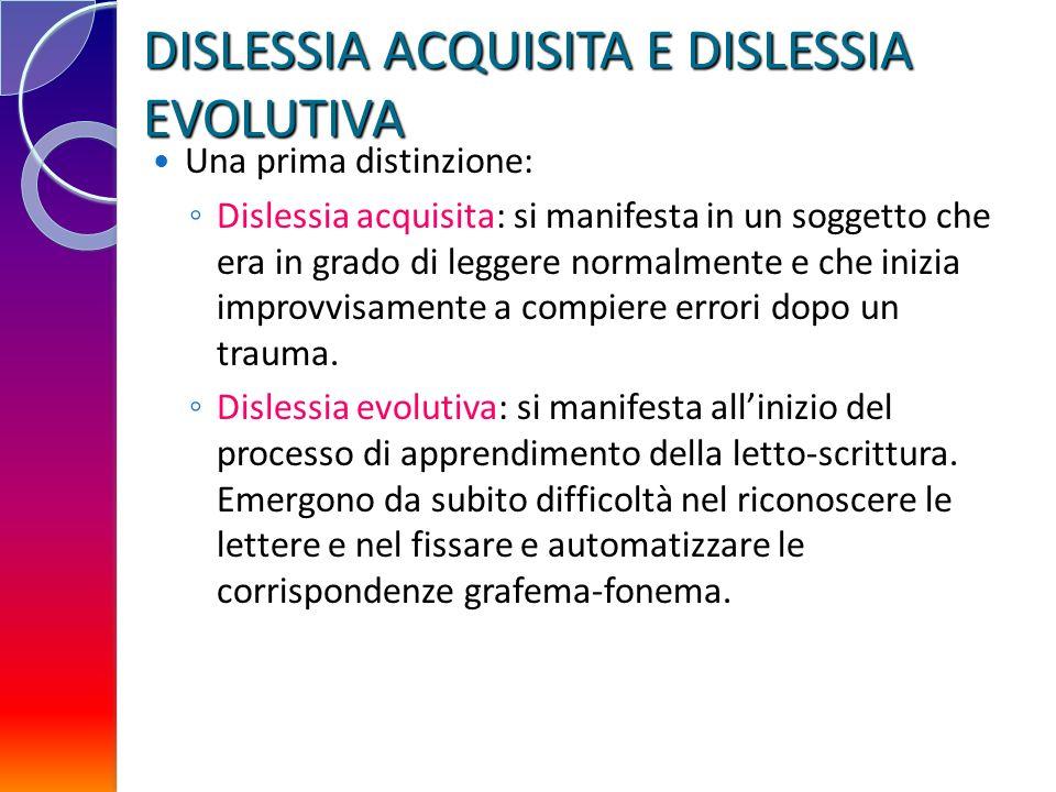 DISLESSIA ACQUISITA E DISLESSIA EVOLUTIVA Una prima distinzione: Dislessia acquisita: si manifesta in un soggetto che era in grado di leggere normalme