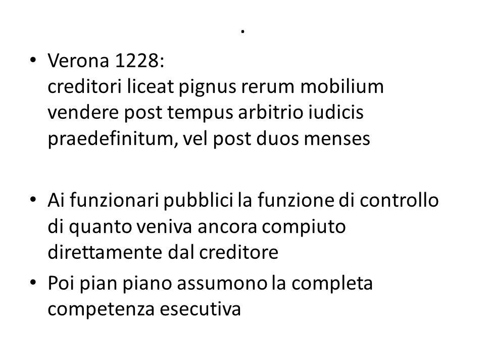 . Verona 1228: creditori liceat pignus rerum mobilium vendere post tempus arbitrio iudicis praedefinitum, vel post duos menses Ai funzionari pubblici