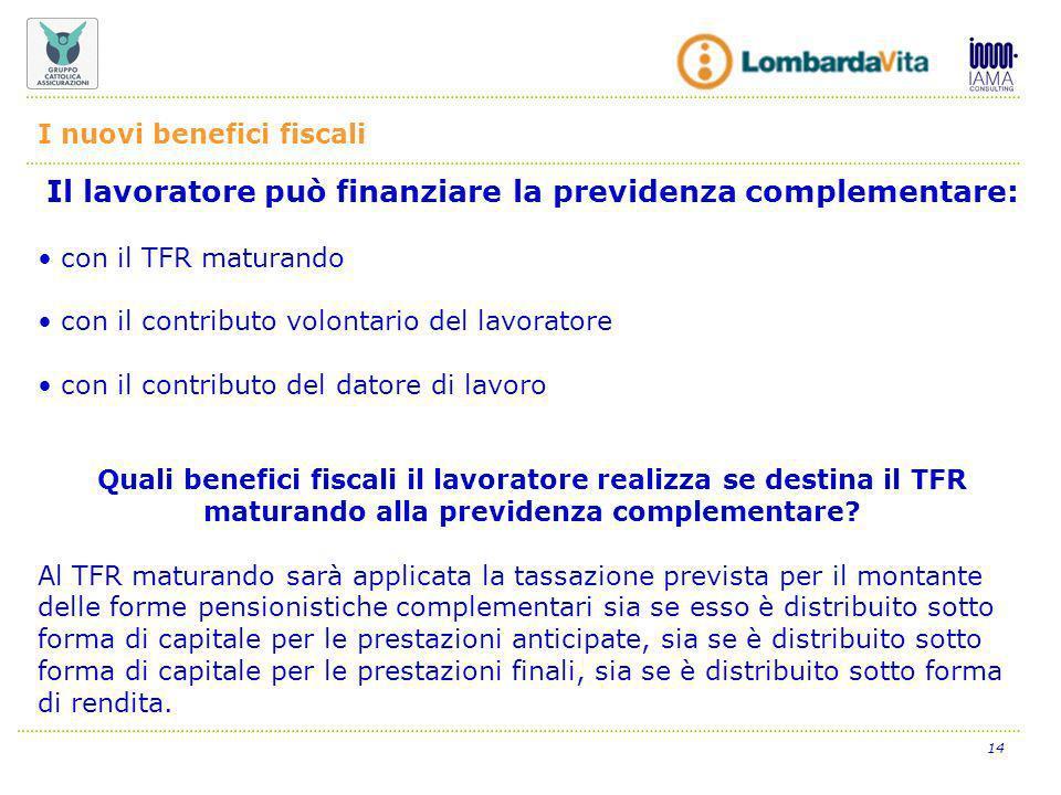 14 Il lavoratore può finanziare la previdenza complementare: con il TFR maturando con il contributo volontario del lavoratore con il contributo del datore di lavoro Quali benefici fiscali il lavoratore realizza se destina il TFR maturando alla previdenza complementare.