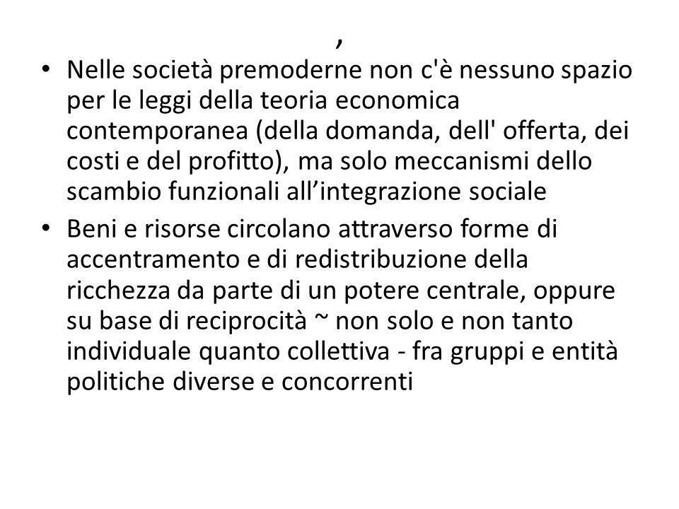 , Nelle società premoderne non c'è nessuno spazio per le leggi della teoria economica contemporanea (della domanda, dell' offerta, dei costi e del pro