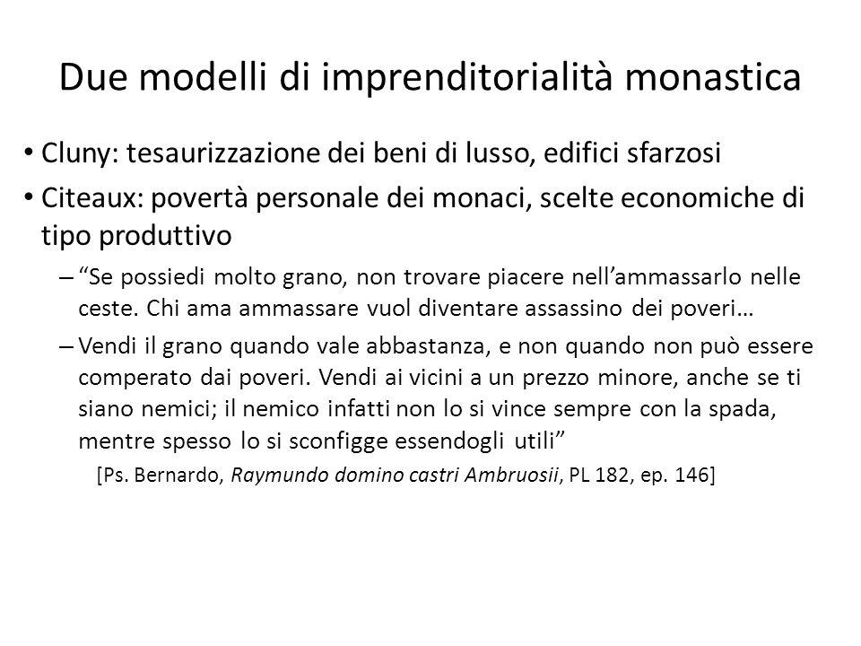 Due modelli di imprenditorialità monastica Cluny: tesaurizzazione dei beni di lusso, edifici sfarzosi Citeaux: povertà personale dei monaci, scelte ec