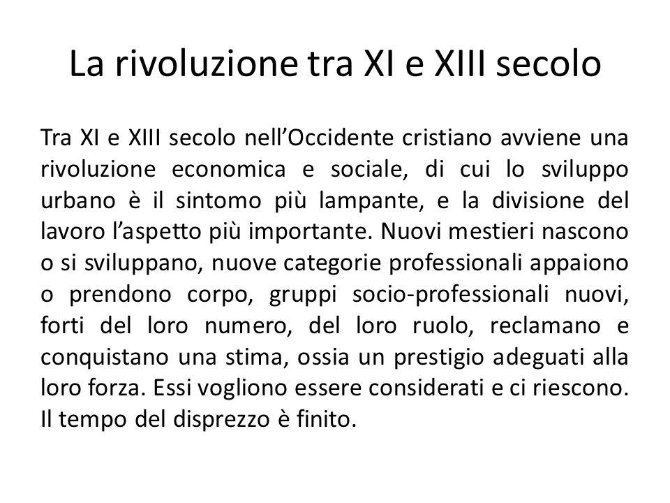 La rivoluzione tra XI e XIII secolo Tra XI e XIII secolo nellOccidente cristiano avviene una rivoluzione economica e sociale, di cui lo sviluppo urban