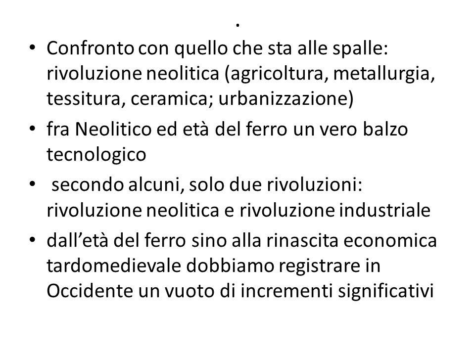 . Confronto con quello che sta alle spalle: rivoluzione neolitica (agricoltura, metallurgia, tessitura, ceramica; urbanizzazione) fra Neolitico ed età