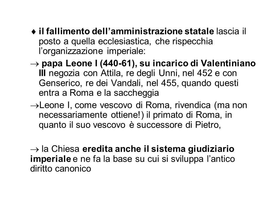 . il fallimento dellamministrazione statale lascia il posto a quella ecclesiastica, che rispecchia lorganizzazione imperiale: papa Leone I (440-61), s