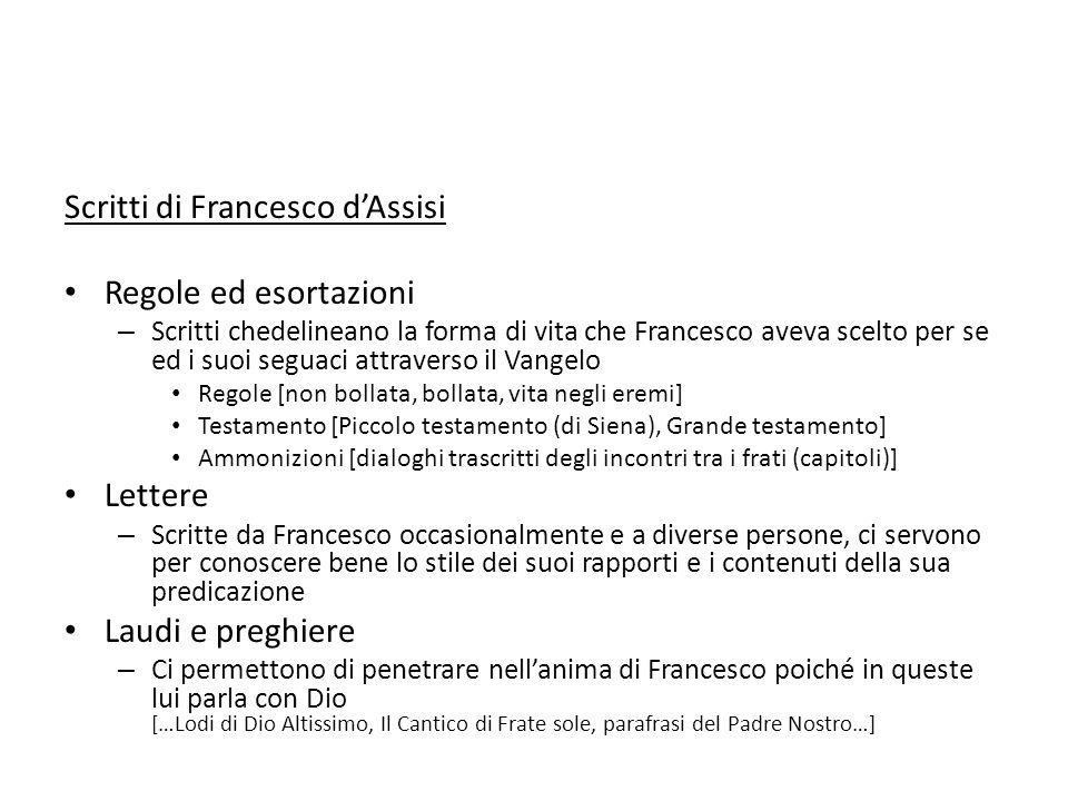 Scritti di Francesco dAssisi Regole ed esortazioni – Scritti chedelineano la forma di vita che Francesco aveva scelto per se ed i suoi seguaci attrave