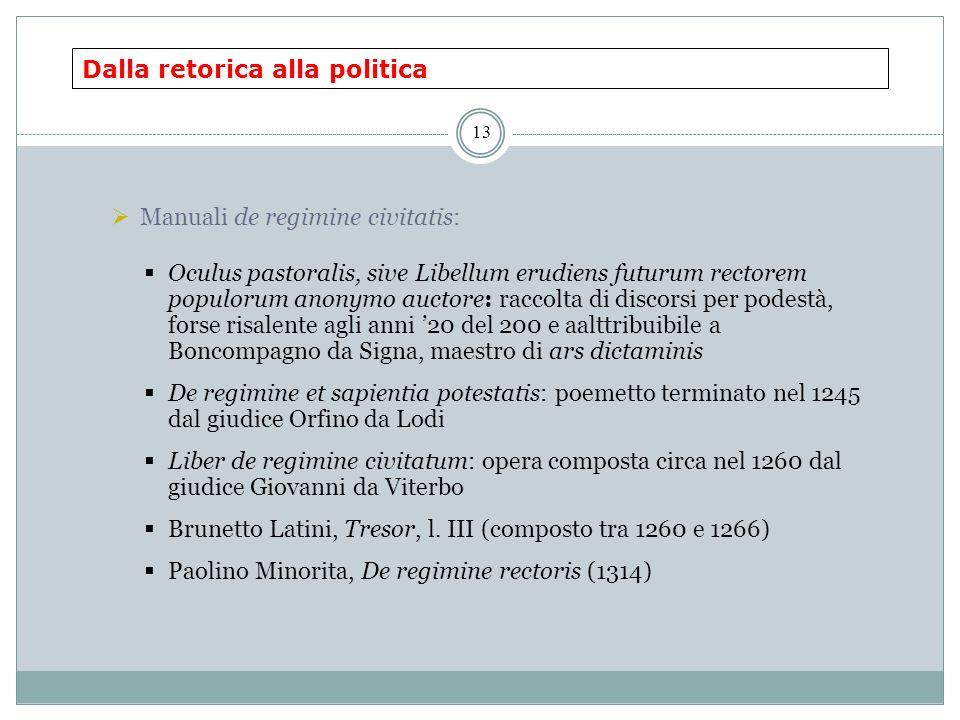 Dalla retorica alla politica 13 Manuali de regimine civitatis: Oculus pastoralis, sive Libellum erudiens futurum rectorem populorum anonymo auctore: r