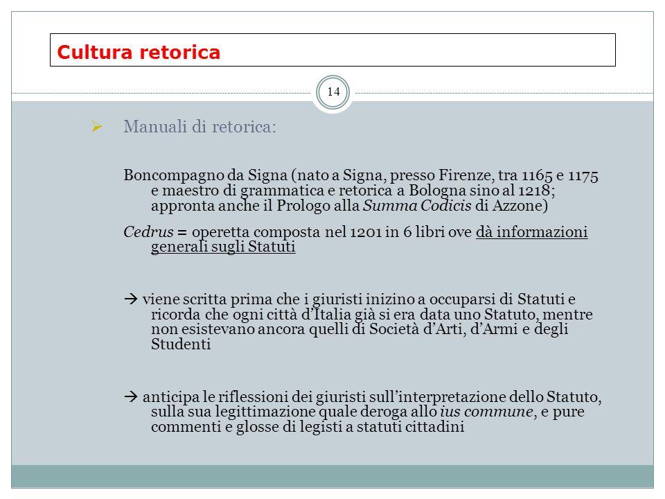 Cultura retorica 14 Manuali di retorica: Boncompagno da Signa (nato a Signa, presso Firenze, tra 1165 e 1175 e maestro di grammatica e retorica a Bolo
