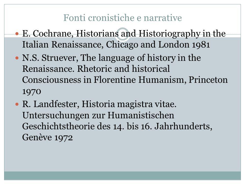 Fonti cronistiche e narrative E.