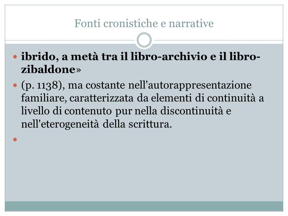 Fonti cronistiche e narrative ibrido, a metà tra il libro-archivio e il libro- zibaldone» (p.