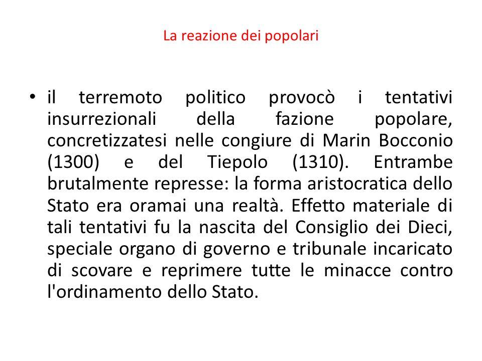La reazione dei popolari il terremoto politico provocò i tentativi insurrezionali della fazione popolare, concretizzatesi nelle congiure di Marin Bocc