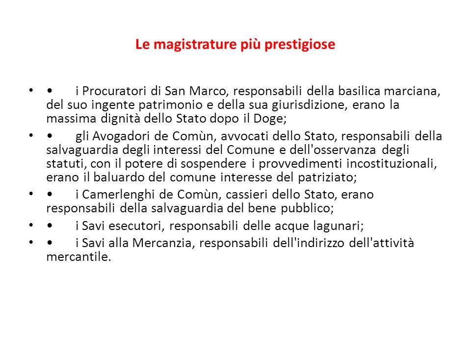 Le magistrature più prestigiose i Procuratori di San Marco, responsabili della basilica marciana, del suo ingente patrimonio e della sua giurisdizione