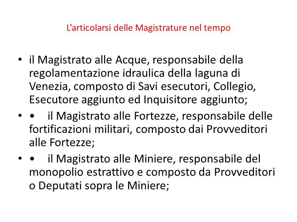 Larticolarsi delle Magistrature nel tempo il Magistrato alle Acque, responsabile della regolamentazione idraulica della laguna di Venezia, composto di