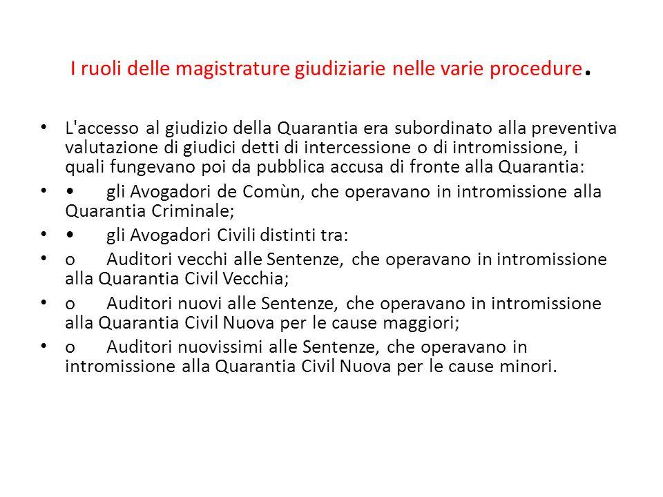 I ruoli delle magistrature giudiziarie nelle varie procedure. L'accesso al giudizio della Quarantia era subordinato alla preventiva valutazione di giu