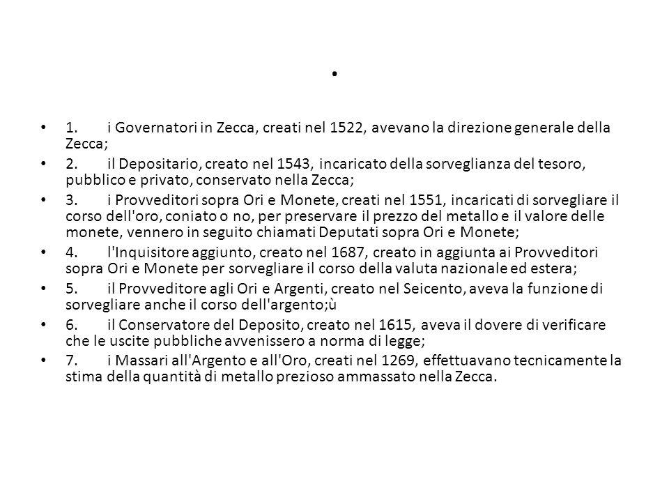 . 1.i Governatori in Zecca, creati nel 1522, avevano la direzione generale della Zecca; 2.il Depositario, creato nel 1543, incaricato della sorveglian