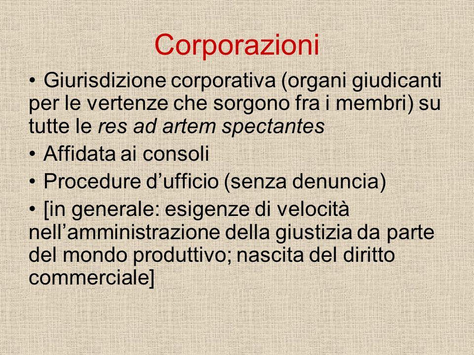 Corporazioni Giurisdizione corporativa (organi giudicanti per le vertenze che sorgono fra i membri) su tutte le res ad artem spectantes Affidata ai co