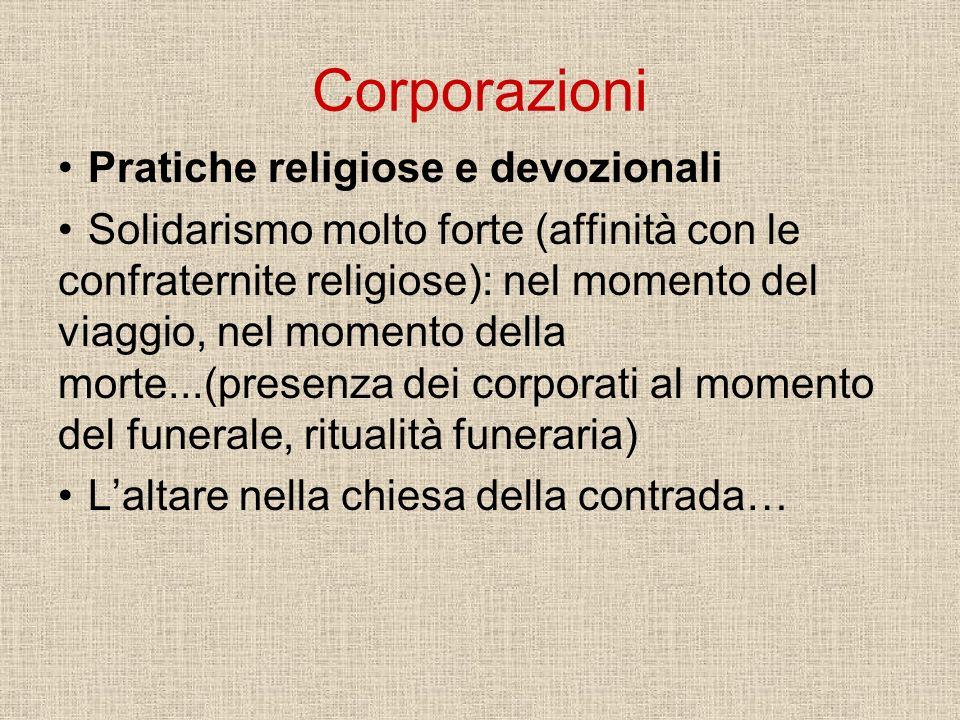 Corporazioni Pratiche religiose e devozionali Solidarismo molto forte (affinità con le confraternite religiose): nel momento del viaggio, nel momento