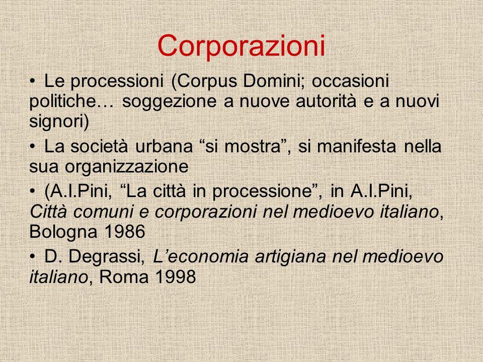 Corporazioni Le processioni (Corpus Domini; occasioni politiche… soggezione a nuove autorità e a nuovi signori) La società urbana si mostra, si manife