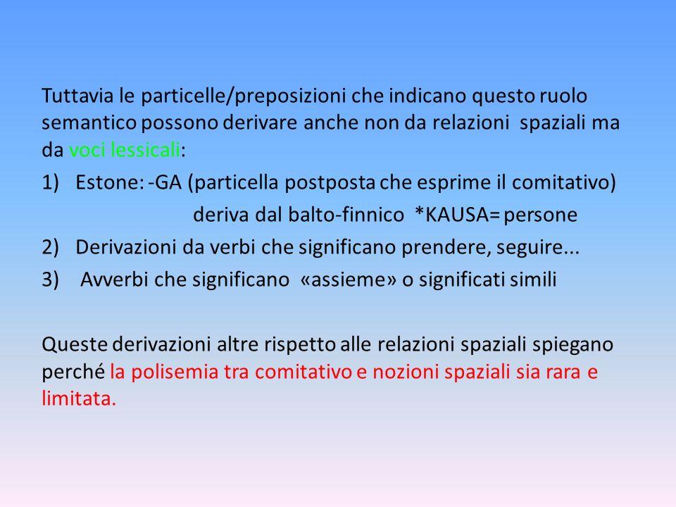 Tuttavia le particelle/preposizioni che indicano questo ruolo semantico possono derivare anche non da relazioni spaziali ma da voci lessicali: 1)Eston