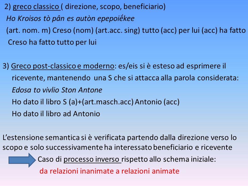 2) greco classico ( direzione, scopo, beneficiario) Ho Kroisos tò pân es autòn epepoikee (art. nom. m) Creso (nom) (art.acc. sing) tutto (acc) per lui