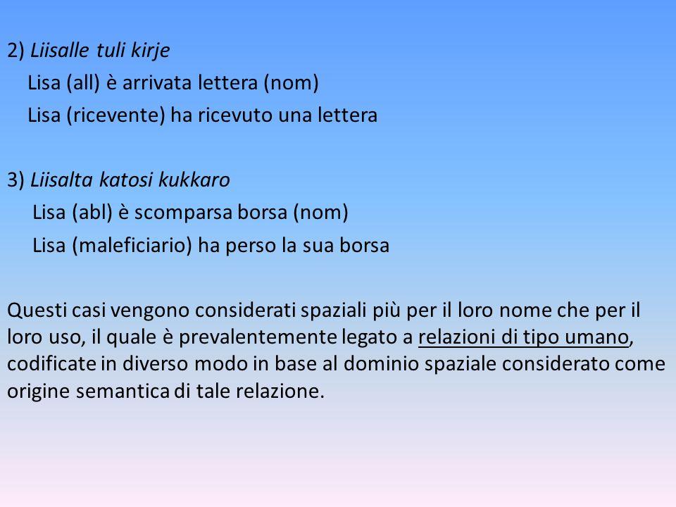2) Liisalle tuli kirje Lisa (all) è arrivata lettera (nom) Lisa (ricevente) ha ricevuto una lettera 3) Liisalta katosi kukkaro Lisa (abl) è scomparsa