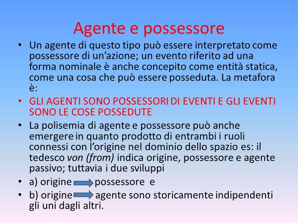 Agente e possessore Un agente di questo tipo può essere interpretato come possessore di unazione; un evento riferito ad una forma nominale è anche con