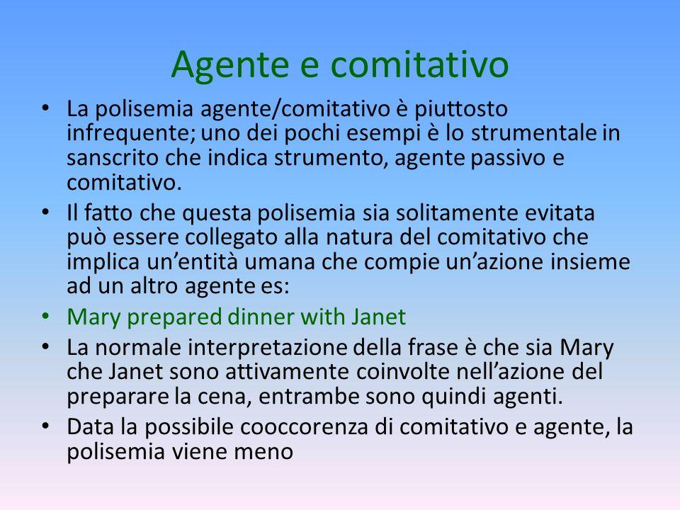 Agente e comitativo La polisemia agente/comitativo è piuttosto infrequente; uno dei pochi esempi è lo strumentale in sanscrito che indica strumento, a