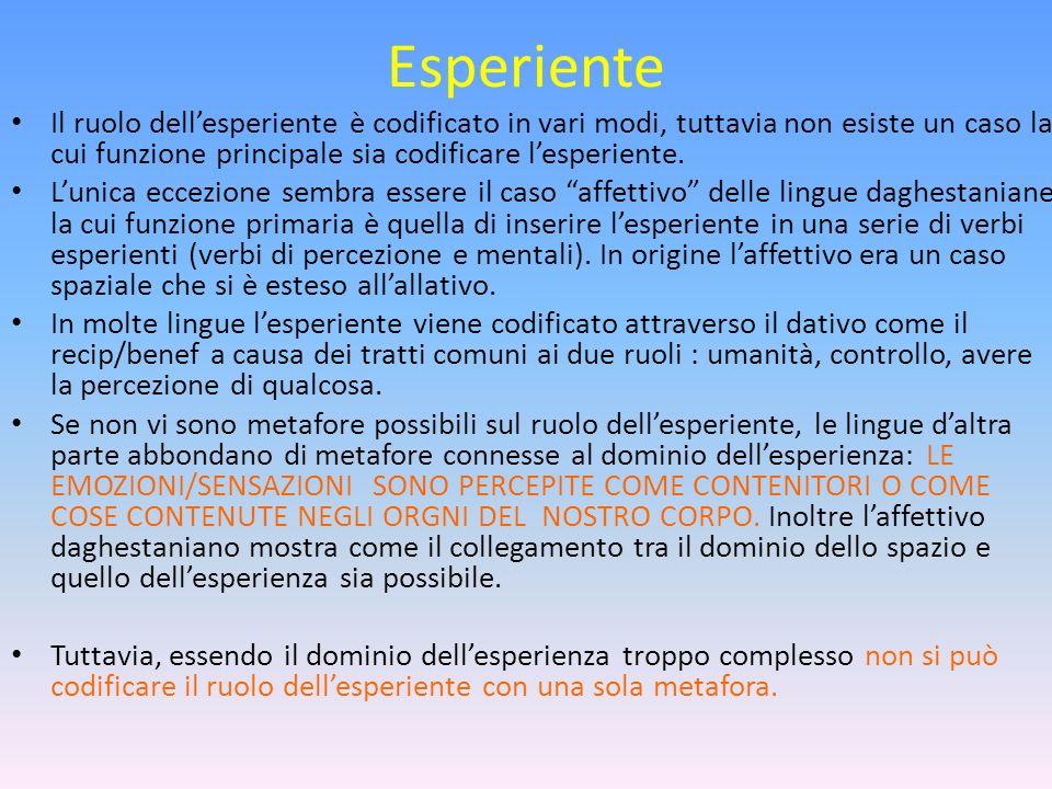 Esperiente Il ruolo dellesperiente è codificato in vari modi, tuttavia non esiste un caso la cui funzione principale sia codificare lesperiente. Lunic