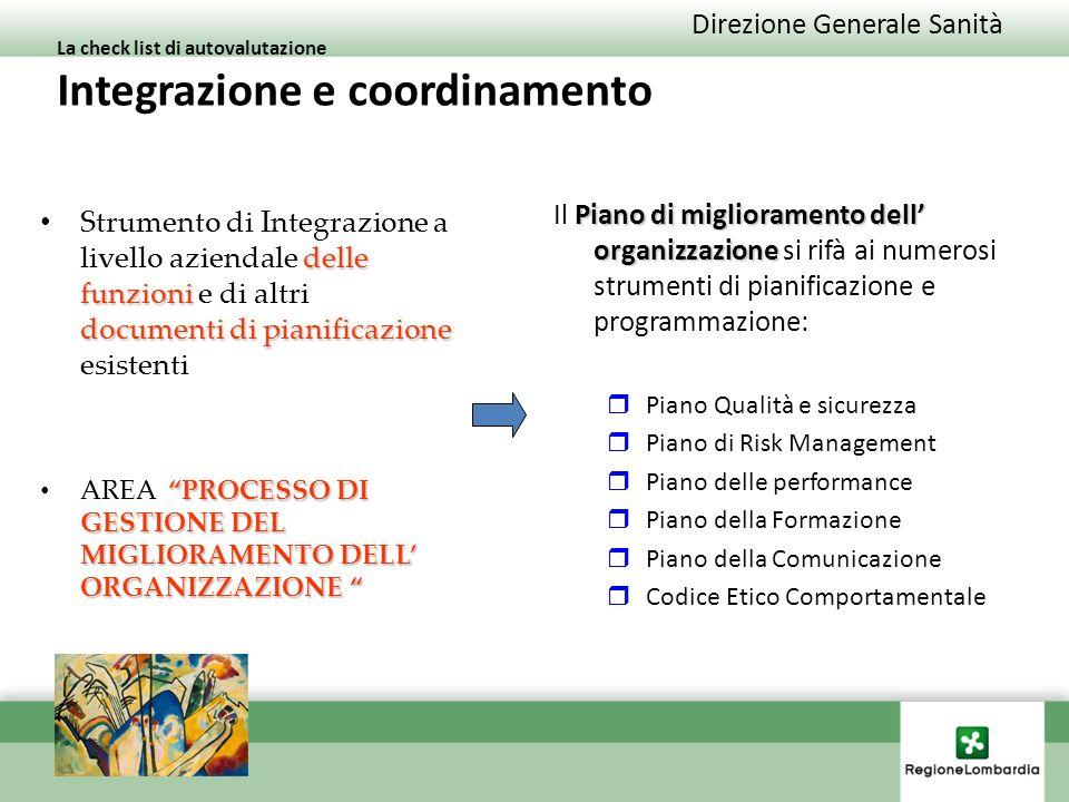 Direzione Generale Sanità La check list di autovalutazione Integrazione e coordinamento delle funzioni documenti di pianificazione Strumento di Integrazione a livello aziendale delle funzioni e di altri documenti di pianificazione esistenti PROCESSO DI GESTIONE DEL MIGLIORAMENTO DELL ORGANIZZAZIONE AREA PROCESSO DI GESTIONE DEL MIGLIORAMENTO DELL ORGANIZZAZIONE Piano di miglioramento dell organizzazione Il Piano di miglioramento dell organizzazione si rifà ai numerosi strumenti di pianificazione e programmazione: Piano Qualità e sicurezza Piano di Risk Management Piano delle performance Piano della Formazione Piano della Comunicazione Codice Etico Comportamentale