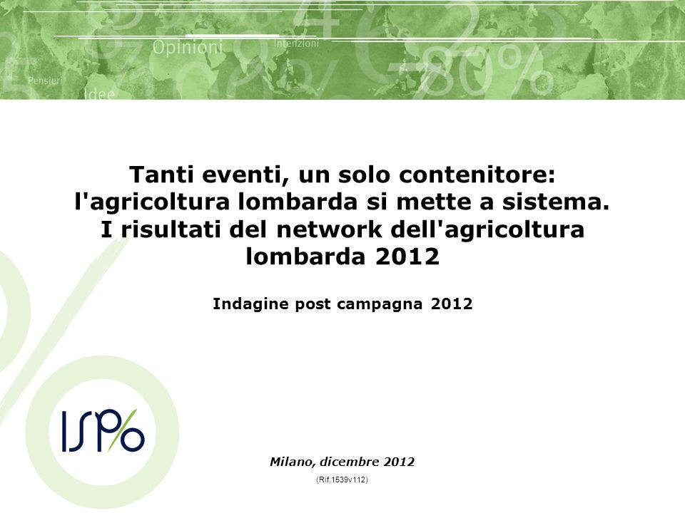 Tanti eventi, un solo contenitore: l'agricoltura lombarda si mette a sistema. I risultati del network dell'agricoltura lombarda 2012 Indagine post cam