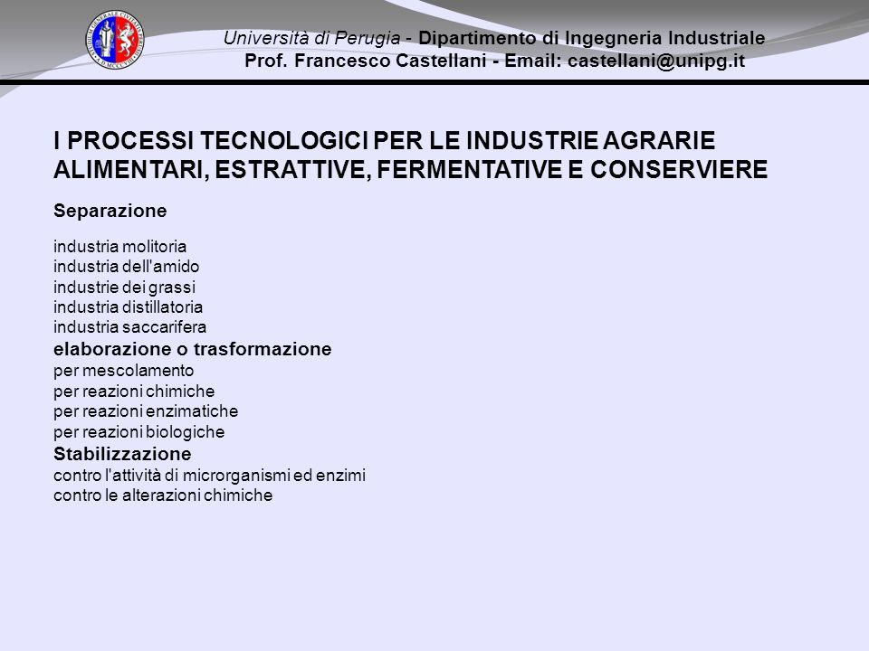 I PROCESSI TECNOLOGICI PER LE INDUSTRIE AGRARIE ALIMENTARI, ESTRATTIVE, FERMENTATIVE E CONSERVIERE Separazione industria molitoria industria dell'amid