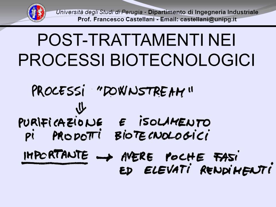 POST-TRATTAMENTI NEI PROCESSI BIOTECNOLOGICI Università degli Studi di Perugia - Dipartimento di Ingegneria Industriale Prof. Francesco Castellani - E