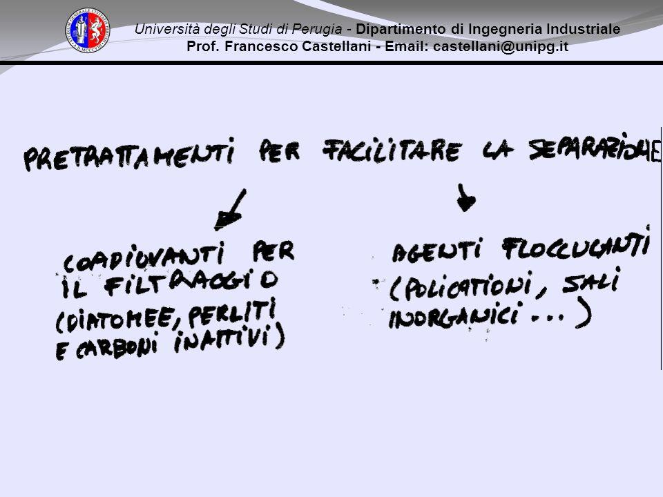 Università degli Studi di Perugia - Dipartimento di Ingegneria Industriale Prof. Francesco Castellani - Email: castellani@unipg.it