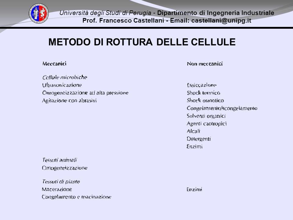Università degli Studi di Perugia - Dipartimento di Ingegneria Industriale Prof. Francesco Castellani - Email: castellani@unipg.it METODO DI ROTTURA D