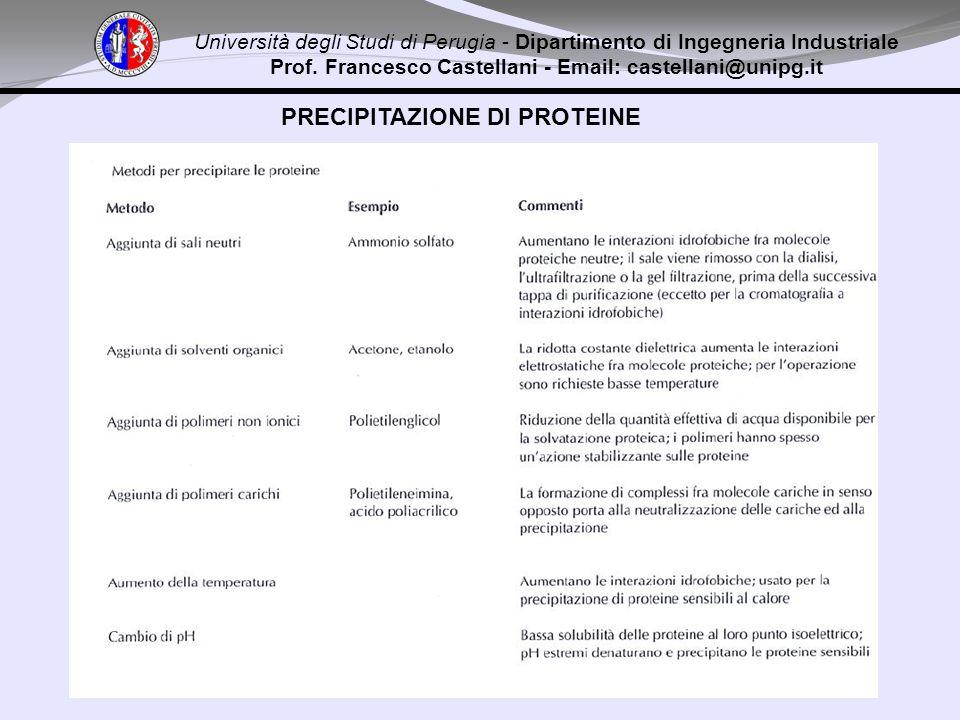 Università degli Studi di Perugia - Dipartimento di Ingegneria Industriale Prof. Francesco Castellani - Email: castellani@unipg.it PRECIPITAZIONE DI P
