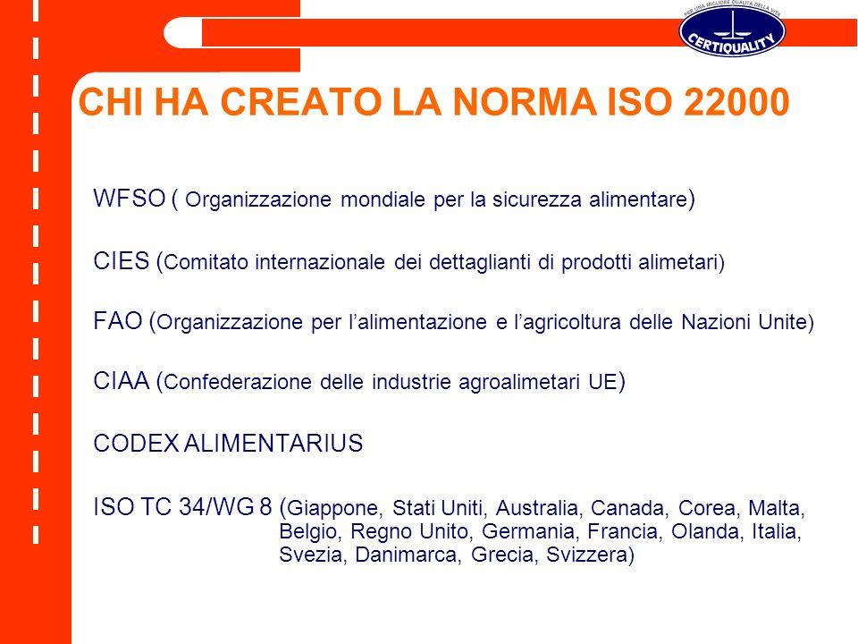OBIETTIVI DELLA ISO22000 Armonizzazione degli standard internazionali Completa corrispondenza con i principi HACCP del Codex Alimentarius Creazione di uno standard allineato con le norme ISO9000 e ISO14001 Necessità per le aziende di dimostrare la loro capacità di identificare e controllare i pericoli per il consumatore e i risvolti che gli stessi determinano nella sicurezza degli alimenti