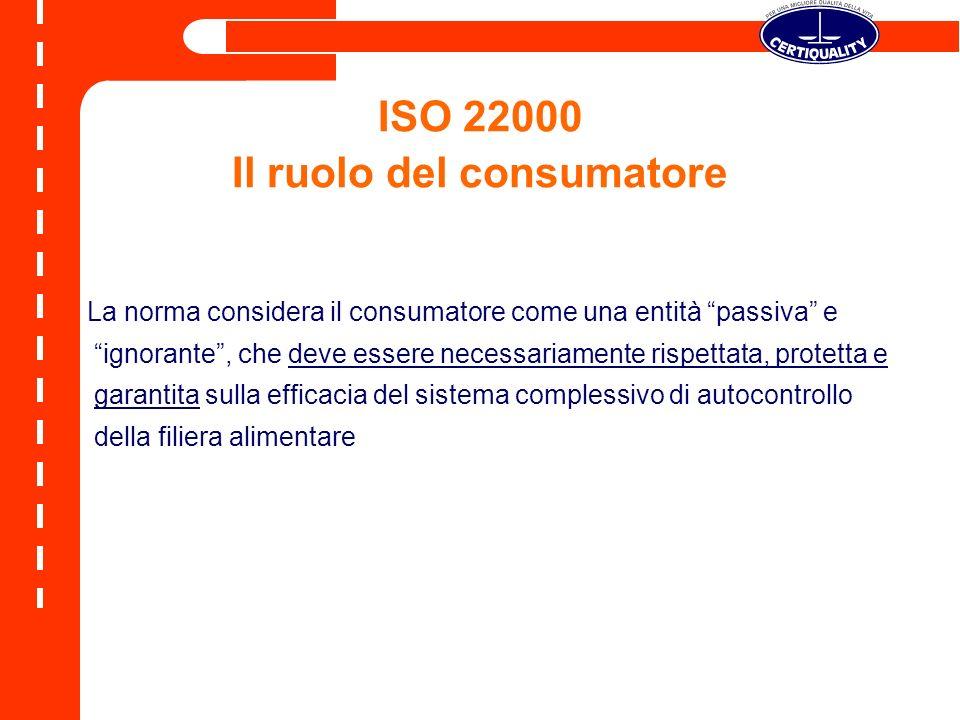ISO 22000 Il ruolo del consumatore La norma considera il consumatore come una entità passiva e ignorante, che deve essere necessariamente rispettata,