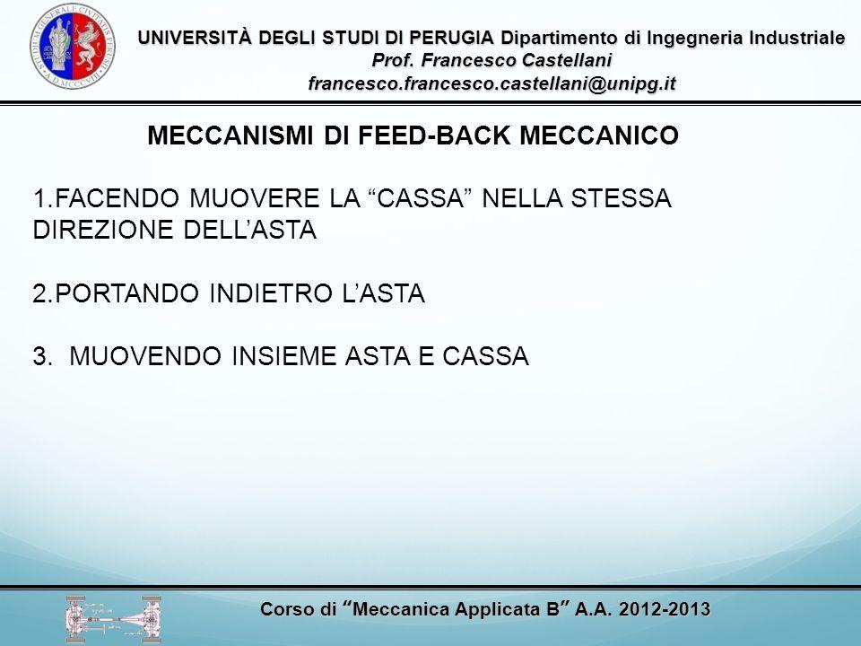 UNIVERSITÀ DEGLI STUDI DI PERUGIA Dipartimento di Ingegneria Industriale Prof. Francesco Castellani francesco.francesco.castellani@unipg.it Corso di M