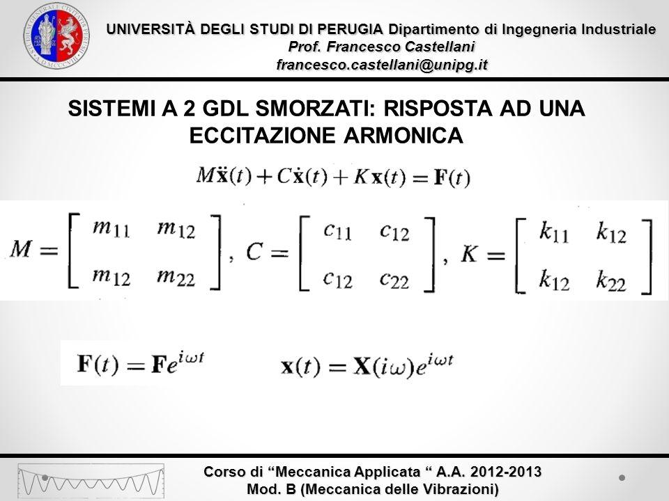 UNIVERSITÀ DEGLI STUDI DI PERUGIA Dipartimento di Ingegneria Industriale Prof. Francesco Castellani francesco.castellani@unipg.it Corso di Meccanica A