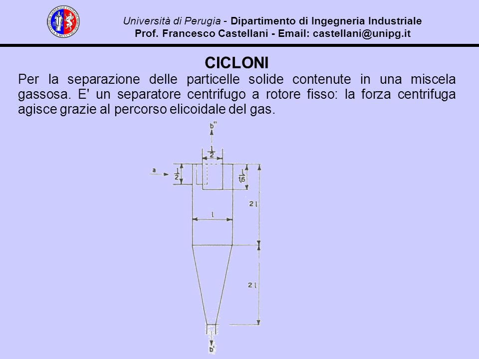 CICLONI Per la separazione delle particelle solide contenute in una miscela gassosa.