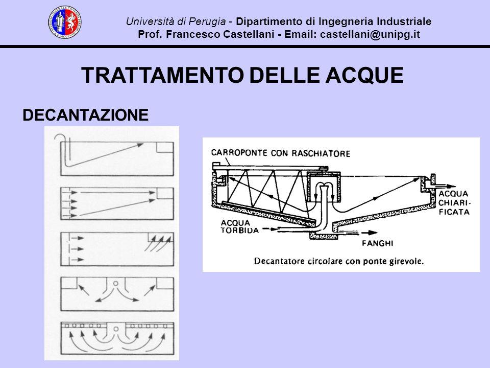 TRATTAMENTO DELLE ACQUE DECANTAZIONE Università di Perugia - Dipartimento di Ingegneria Industriale Prof.