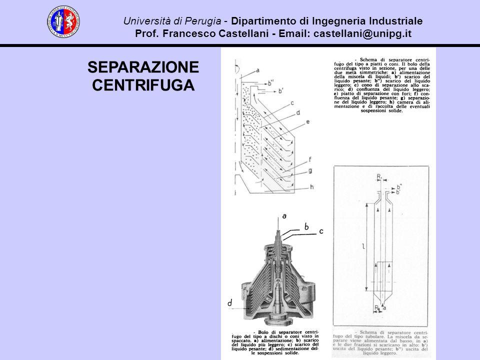 SEPARAZIONE CENTRIFUGA Università di Perugia - Dipartimento di Ingegneria Industriale Prof.