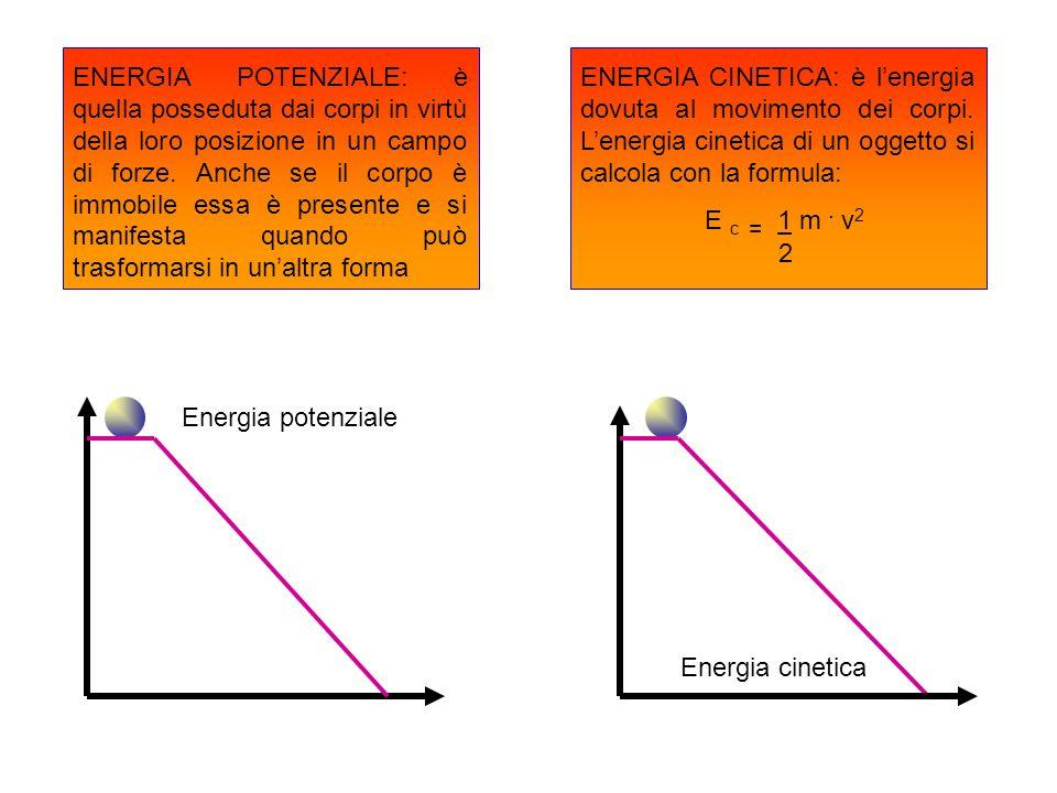 ENERGIA POTENZIALE: è quella posseduta dai corpi in virtù della loro posizione in un campo di forze. Anche se il corpo è immobile essa è presente e si