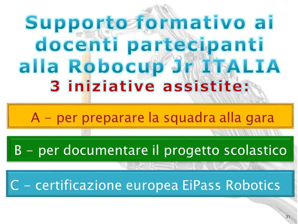 31 B - per documentare il progetto scolastico C - certificazione europea EiPass Robotics A - per preparare la squadra alla gara