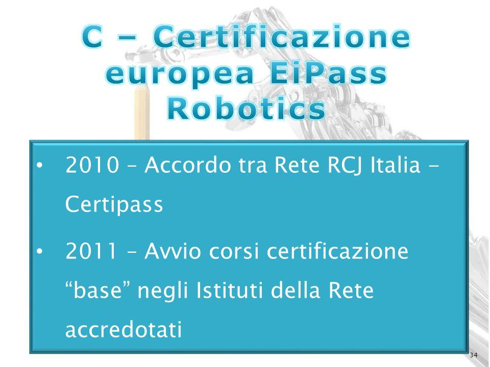 34 2010 – Accordo tra Rete RCJ Italia - Certipass 2011 – Avvio corsi certificazione base negli Istituti della Rete accredotati
