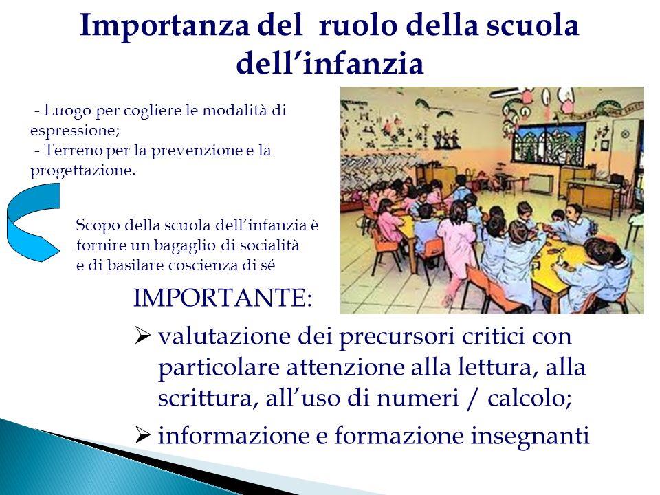 Importanza del ruolo della scuola dellinfanzia IMPORTANTE: valutazione dei precursori critici con particolare attenzione alla lettura, alla scrittura,