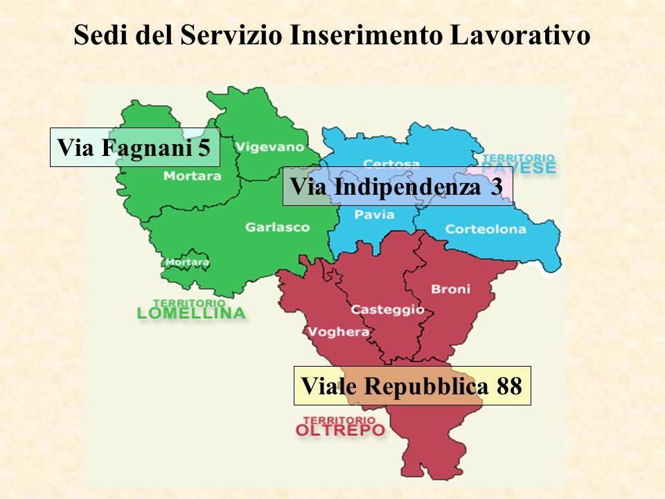 Via Fagnani 5 Via Indipendenza 3 Viale Repubblica 88 Sedi del Servizio Inserimento Lavorativo