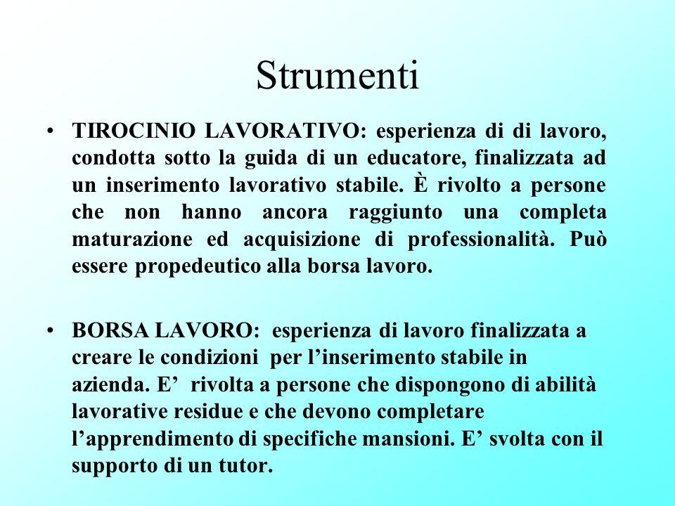 Strumenti TIROCINIO LAVORATIVO: esperienza di di lavoro, condotta sotto la guida di un educatore, finalizzata ad un inserimento lavorativo stabile. È