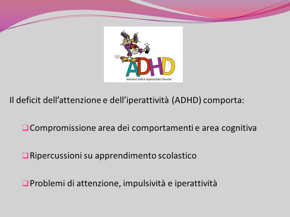 Il deficit dellattenzione e delliperattività (ADHD) comporta: Compromissione area dei comportamenti e area cognitiva Ripercussioni su apprendimento scolastico Problemi di attenzione, impulsività e iperattività